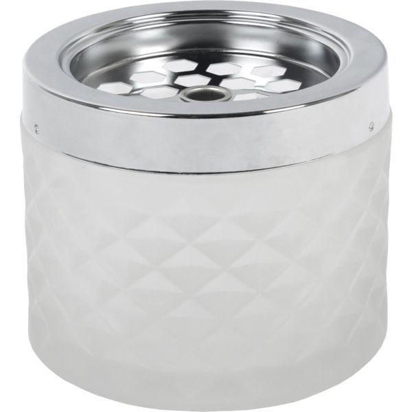 Windascher Glas, mit Edelstahldeckel, matt, weiß, Höhe: 67 mm, ø: 96 mm