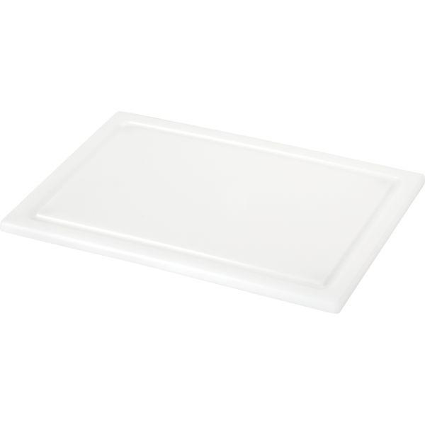 Schneidbrett weiß, mit Saftrille und Füßchen Länge: 330 mm, Breite: 220 mm